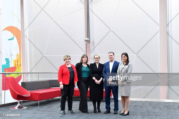 British Labour leadership candidates Emily Thornberry Jess Phillips Rebecca LongBailey Keir Starmer and Lisa Nandy pose prior to setting out their...