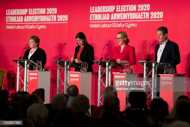 British Labour leadership candidates Emily Thornberry Lisa Nandy Rebecca LongBailey and Keir Starmer at the Labour Leadership Hustings at Cardiff...