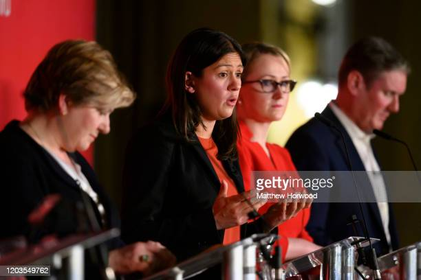 British Labour leadership candidates Emily Thornberry, Lisa Nandy , Rebecca Long-Bailey and Keir Starmer at the Labour Leadership Hustings at Cardiff...
