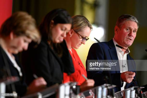 British Labour leadership candidates Emily Thornberry, Lisa Nandy, Rebecca Long-Bailey and Keir Starmer at the Labour Leadership Hustings at Cardiff...