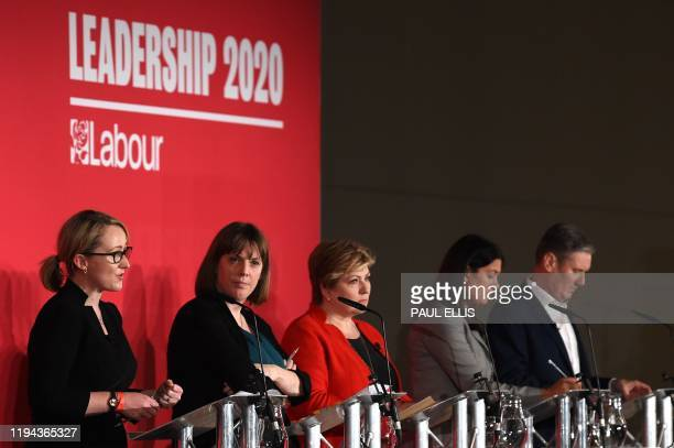 British Labour leadership candidates Rebecca LongBailey Jess Phillips Emily Thornberry Lisa Nandy and Keir Starmer gesture on the podium prior to...