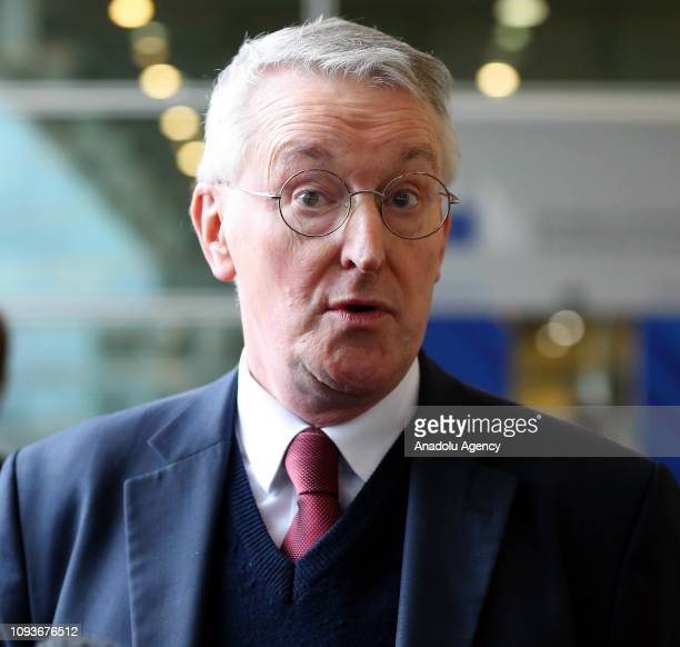 British Labour Member of Parliament Hilary Benn speaks to media after a meeting with the Secretary General of the European Commission Martin Selmayr...