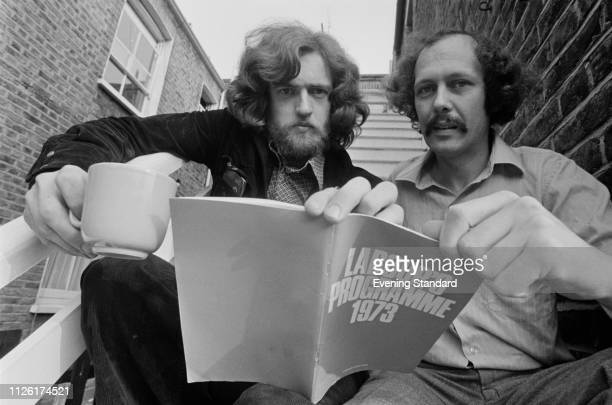 British Labour Party activist and borough councillor, Jeremy Corbyn with Les Silverstone, September 1975. They are holding a copy of 'Labour's...