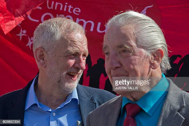 British Labour party Leader Jeremy Corbyn and British Labour party MP Denis Skinner stand with campaigners outside the Houses of Parliament in...