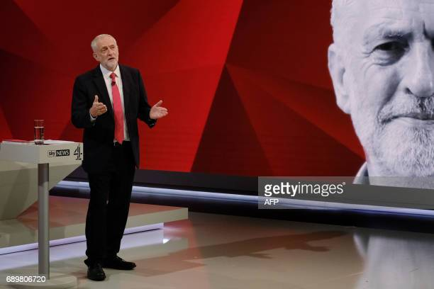 British Labour Party leader Jeremy Corbyn answers questions from the studio audience as he takes part in the 'May v Corbyn Live The Battle for Number...