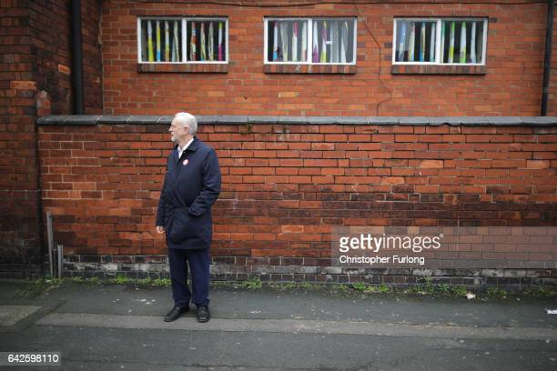 British Labour party leader Jeremy Corbyn campaigns on the streets of Longton in the StokeOnTrent Central byelection with Labour candidate Gareth...