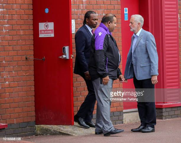 British Labour Party leader Jeremy Corbyn leaves the bet365 stadium by the back door after addressing Labour party members during an event to...