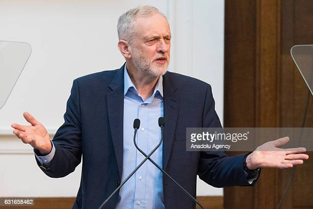 British Labour party leader Jeremy Corbyn makes a keynote speech at the Fabian Society New Years Conference in London United Kingdom on January 14...