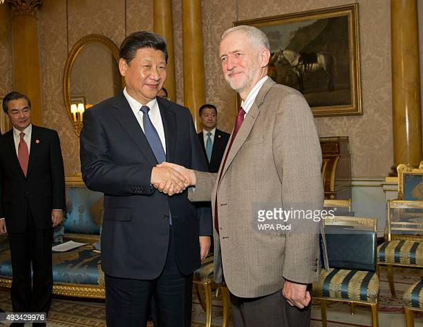 British Labour party leader Jeremy Corbyn meets with the China's President Xi Jinping during the President's state visit on October 20 2015 in London...