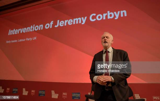 British Labour Party leader Jeremy Corbyn speaks at the Party of European Socialists PES Congress 2018 on December 07 2018 in Lisbon Portugal The XI...