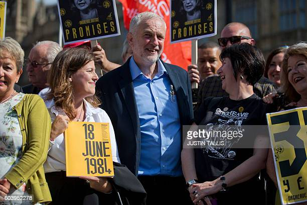 British Labour party Leader Jeremy Corbyn stands with campaigners outside the Houses of Parliament in central London on September 13 during a protest...