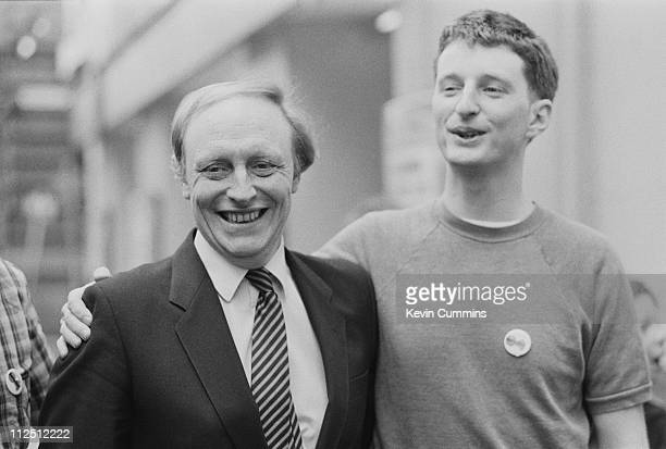 British Labour Party leader Neil Kinnock with English singersongwriter Billy Bragg at the Free Trade Hall Manchester 20th May 1984