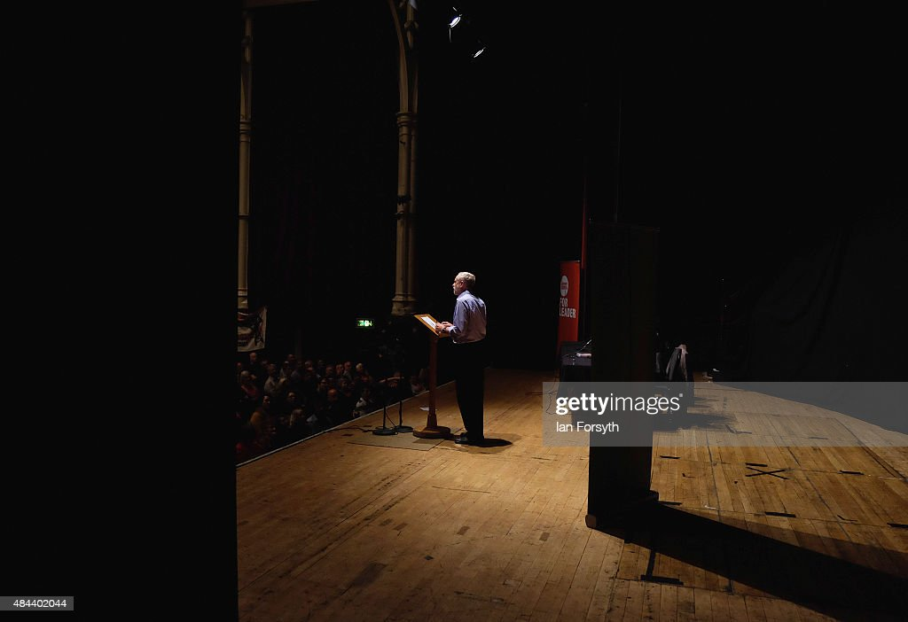 British Labour Party leadership contender Jeremy Corbyn addresses over a thousand supporters during a tea-time meeting as part of a nationwide leadership campaign at the Town Hall on August 18, 2015 in Middlesbrough, England. The Labour party leadership election was triggered by the resignation earlier in the year of Ed Miliband following the party's defeat at the general election. Four candidates were successfully nominated to stand, Andy Burnham, Yvette Cooper, Jeremy Corbyn and Liz Kendall. The result of the campaign will be announced on Saturday 12 September 2015.