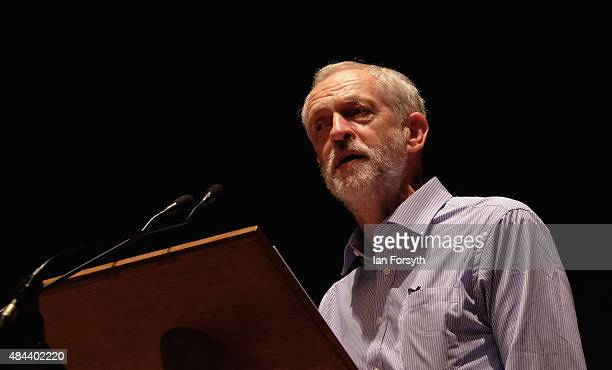 British Labour Party leadership contender Jeremy Corbyn addresses over a thousand supporters during a meeting as part of a nationwide leadership...