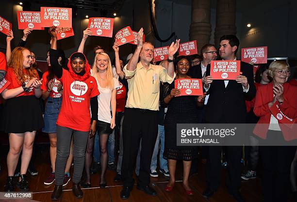 British Labour Party Leadership contender Jeremy Corbyn poses for pictures with supporters after addressing a rally at the Rock Tower in north London...