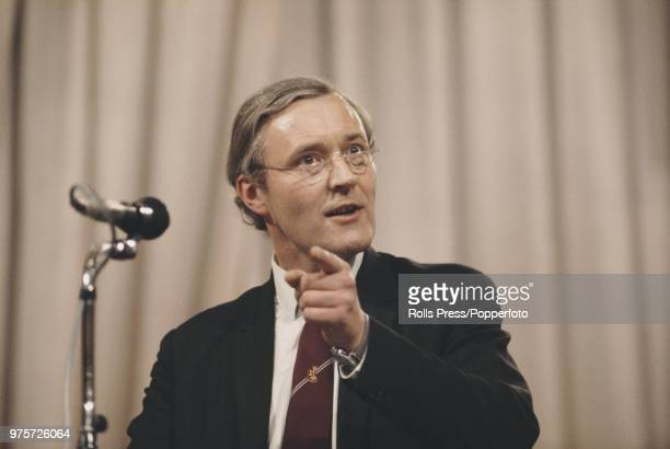 British Labour Party politician and Chairman of the Labour Party Tony Benn pictured addressing the Trades Union Congress annual conference in...