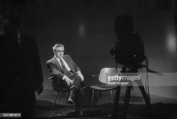 British Labour Party politician and deputy leader George Brown pictured in a television studio for an interview following the news of the death of...