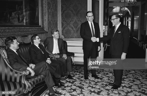 British Labour Party politician and Financial Secretary to the Treasury Harold Lever, Baron Lever of Manchester , greets members of the International...