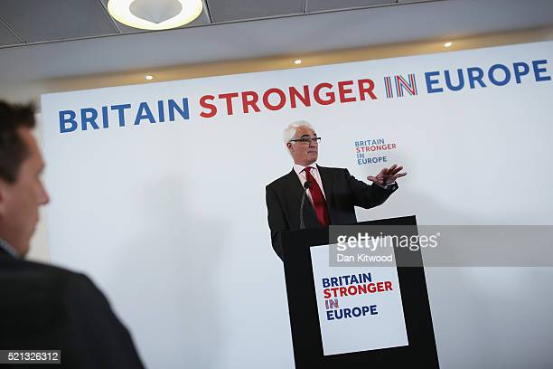 British Labour Party politician and former Chancellor of the Exchequer Alistair Darling speaks to journalists about the benefits of EU membership at...