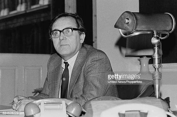 British Labour Party politician and Home Secretary Merlyn Rees pictured sitting at his desk in the Home Office in London on 13th September 1976