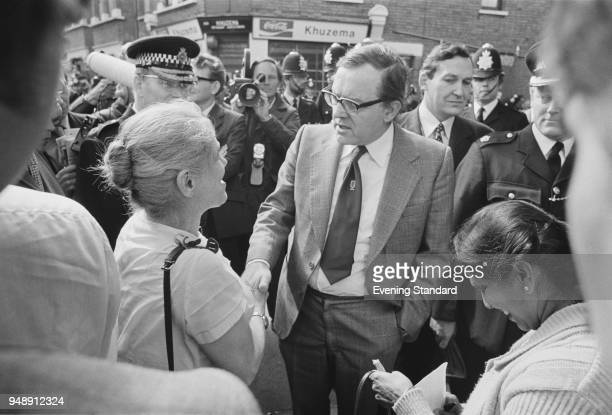 British Labour party politician and Home Secretary Merlyn Rees meets South Asian women 'Grunwick Dispute' strikers London UK 27th June 1977 On the...