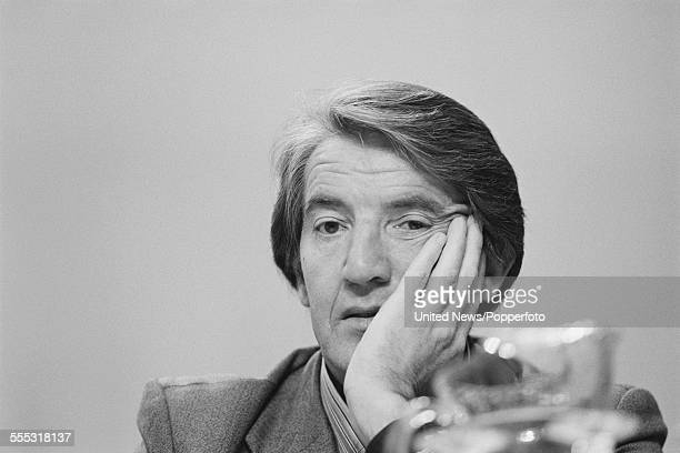 British Labour Party politician and Member of Parliament for Bolsover Dennis Skinner pictured sitting on the platform at the annual Labour Party...