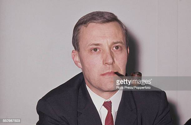 British Labour Party politician and Minister of Technology Tony Benn pictured smoking a pipe at the Labour Party annual conference in Brighton on 5th...