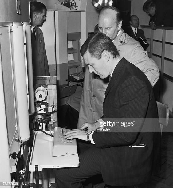 British Labour Party politician and Postmaster General Anthony Wedgwood Benn at the Postal Mechanization Exhibition in Bird Street London 4th October...