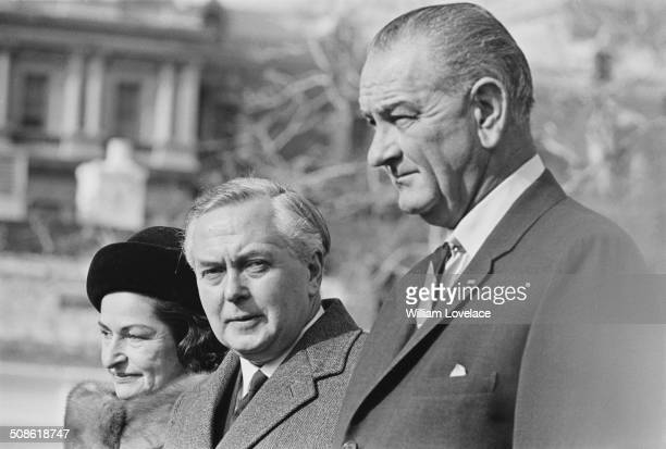 British Labour Party politician and Prime Minister, Harold Wilson with President Lyndon B. Johnson and his wife, Lady Bird Johnson , USA, 1964.