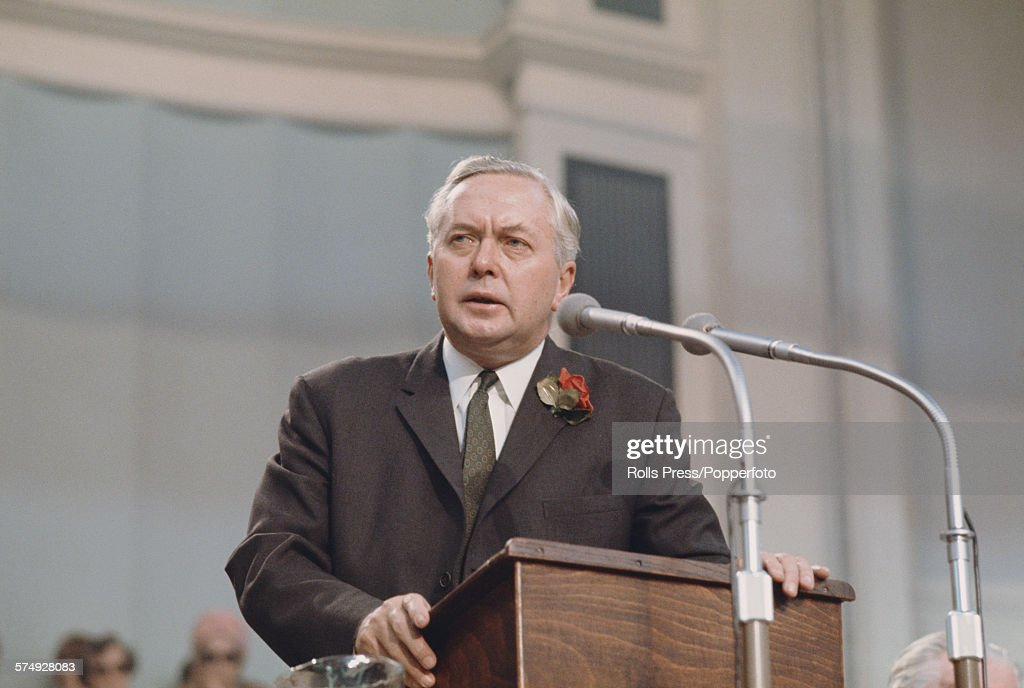 British Labour Party politician and Prime Minister of the United Kingdom, Harold Wilson (1916-1995) makes a speech from the platform at the Labour Party annual conference in Scarborough, England in October 1967.