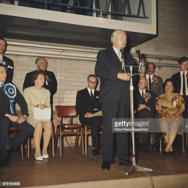 British Labour Party politician and Prime Minister of the United Kingdom Harold Wilson delivers a speech from the stage after being reelected MP of...