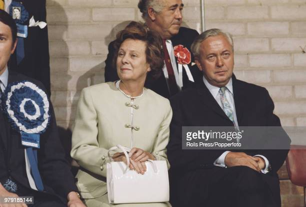 British Labour Party politician and Prime Minister of the United Kingdom Harold Wilson and his wife Mary Wilson listen to election results coming in...