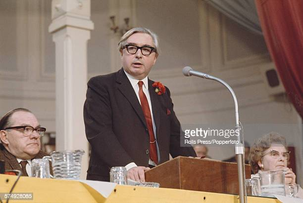 British Labour Party politician and Secretary of State for Foreign Affairs George Brown makes a speech from the platform at the Labour Party annual...
