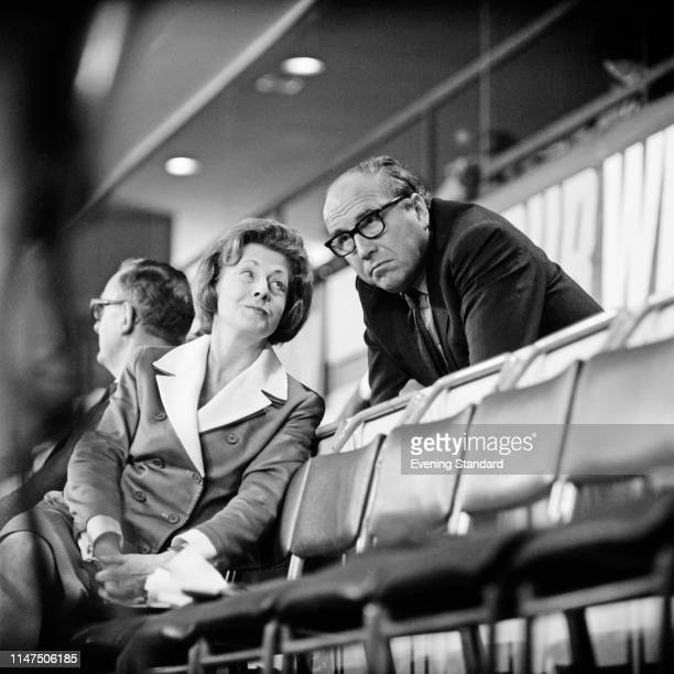British Labour Party politician Barbara Castle talking to British Labour Party, SDP and Liberal Democrat politician Roy Jenkins at the Labour Party...