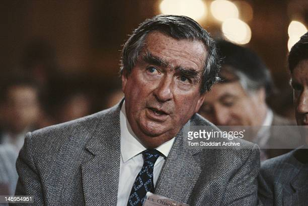 British Labour Party politician Denis Healey the Shadow Foreign Secretary at the Labour Party Conference in Blackpool 30th September 1986