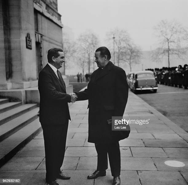 British Labour Party politician Denis Healey welcome West German politician and Minister of Defence Gerhard Schroder London UK 23rd January 1968