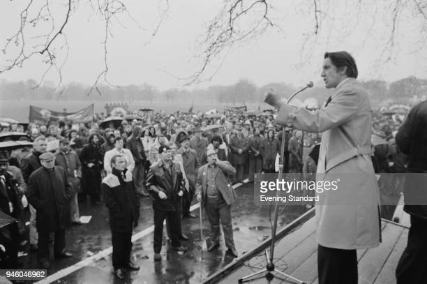 British Labour Party politician Dennis Skinner giving a speech at a demonstration in Canterbury UK 21st April 1977