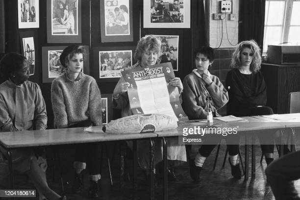 British Labour Party politician Frances Morrell , leader of the Inner London Education Authority, with British pop group Bananarama at the launch of...