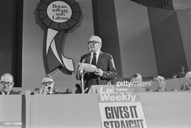 British Labour Party politician James Callaghan delivers a speech to the 1974 Labour Party Conference, held in the Central Hall of Westminster,...