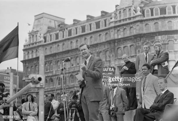 British Labour Party politician Michael Barnes speaking at a rally organised by the 'Biafra Committee' London UK 7th July 1968