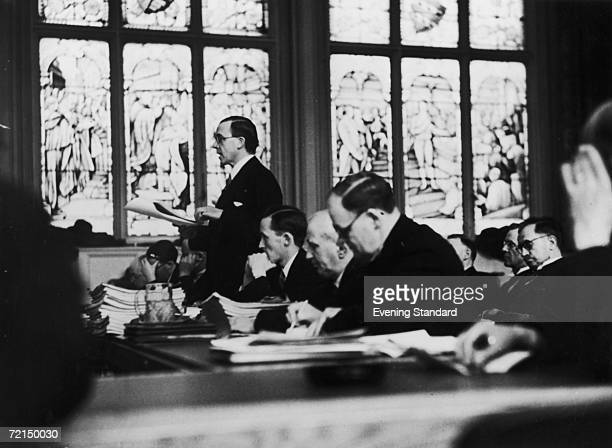 British Labour Party politician Sir Stafford Cripps addressing the Gresford Colliery disaster inquiry at Caxton Hall London April 1936