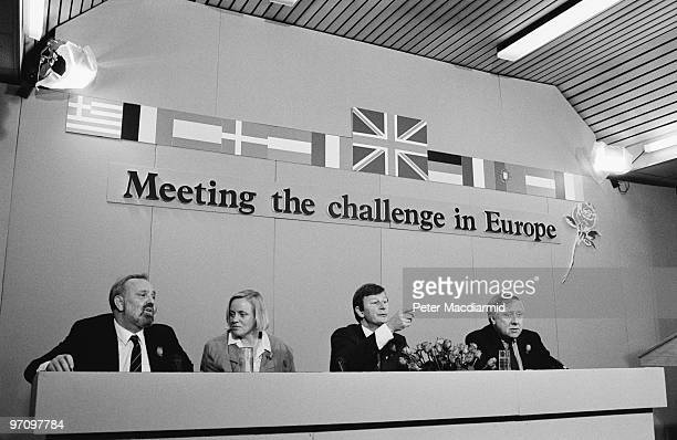 British Labour Party politicians at a press conference before the European Parliamentary Election London June 1989 Left to right Frank Dobson Mo...