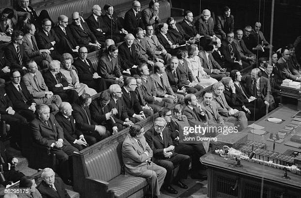 British Labour Party politicians at the State Opening of Parliament Westminster London 25th November 1976 On the front bench are Chancellor of the...