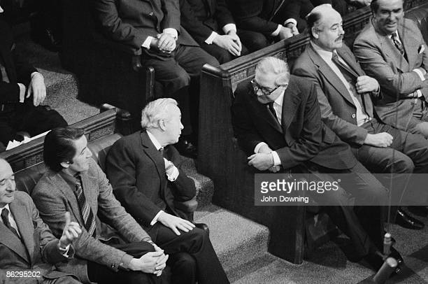 British Labour Party politicians at the State Opening of Parliament Westminster London 25th November 1976 From second left Dennis Skinner former...