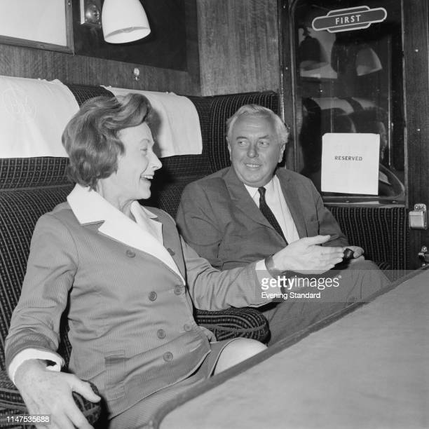 British Labour Party politicians Barbara Castle and Harold Wilson travelling on a train, UK, 1st September 1969.