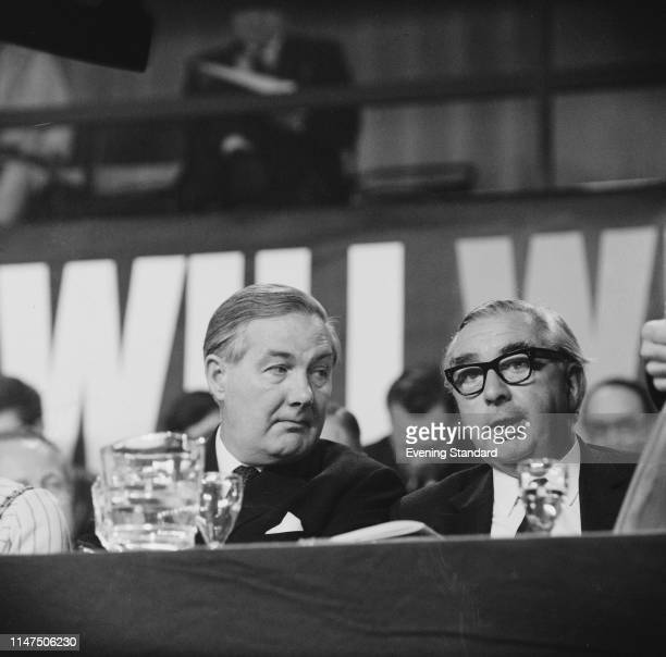 British Labour Party politicians James Callaghan and George Brown, Baron George-Brown at the Labour Party Conference, Brighton, UK, 3rd October 1969.