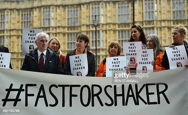 British Labour party Shadow Chancellor John McDonnell speaks alongside MP Carloine Lucas at a rally in central London, on October 15, 2015 launching...