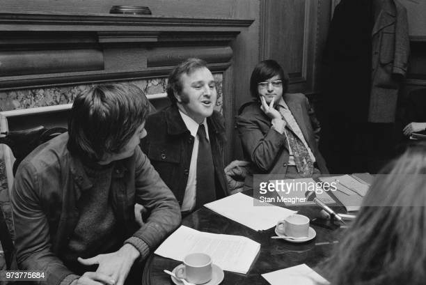 British Labour Pary politician and Leader of the Camden London Borough Council holdins a press conference concerning public inquiries with colleagues...
