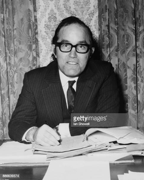 British Labour politician Alex Lyon the new Minister of State at the Home Office at his desk at the Home Office in London 12th March 1974
