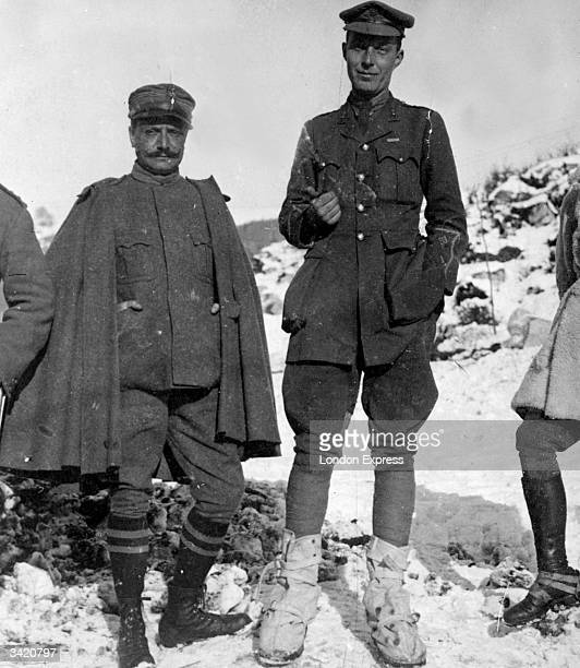 British Labour politician and future Chancellor of the Exchequer Hugh Dalton in the Italian mountains while serving in the artillery during the first...